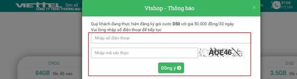đăng ký gói D50 Viettel