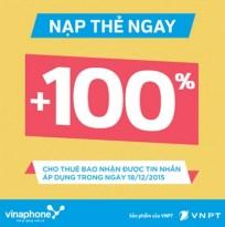 Vinaphone khuyến mãi 100% ngày 18/12 theo danh sách