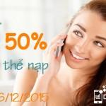 Viettel khuyến mãi tặng 50% thẻ nạp ngày 25 và 26/12