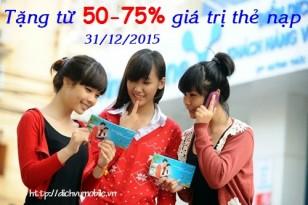 Khuyến mãi Vinaphone tặng 50% hoặc 75% thẻ nạp ngày 31/12
