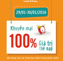 Viettel khuyen mai 100 the nap ngay 29 va 30-1-2016