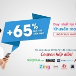 OnOnPay Khuyến mãi 65% thẻ nạp Vinaphone ngày 27/01/2016