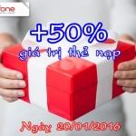 Khuyến mãi Mobifone ngày 20/1/2016 tặng 50% thẻ nạp