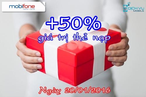 Khuyến mãi Mobifone tặng 50% thẻ nạp ngày 20/1