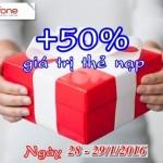 Mobifone khuyến mãi tặng 50% thẻ nạp ngày 28 và 29/1/2016