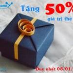 Vinaphone khuyến mãi ngày vàng tặng 50% thẻ nạp 8/1/2016