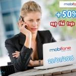 Khuyến mãi 50% Mobifone nạp tiền trực tuyến ngày 25/1