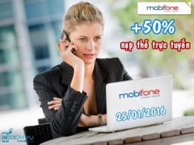 Mobifone khuyến mãi 50% nạp tiền trực tuyến ngày 25/1