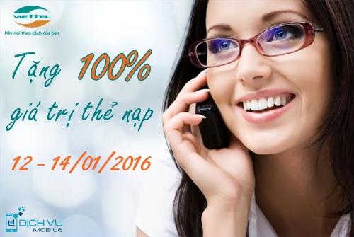 Viettel khuyến mãi 100% ngày 12 - 14/1/2016 cho thuê bao theo danh sách