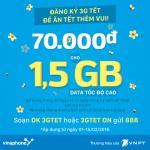 Đăng ký gói 3GTET của Vinaphone 70K 1,5GB tốc độ cao