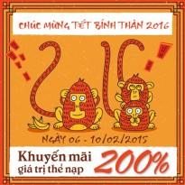 Khuyến mãi Vietnamobile tặng 200% thẻ nạp từ ngày 6 - 10/2/2016
