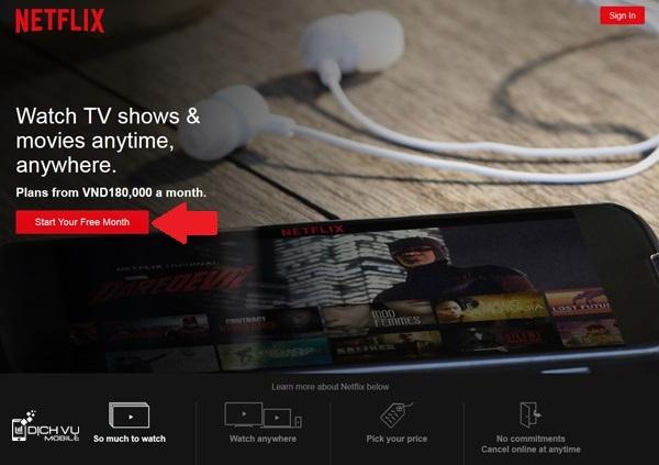 Cách xem Netflix miễn phí 1 tháng