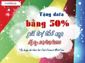 khuyen mai cong data bang 50 gia tri the nap cho thue bao fasst connect mang mobifone