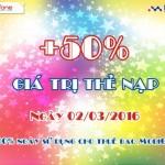 Khuyến mãi nạp thẻ Mobifone tặng 50% ngày 2/3/2016