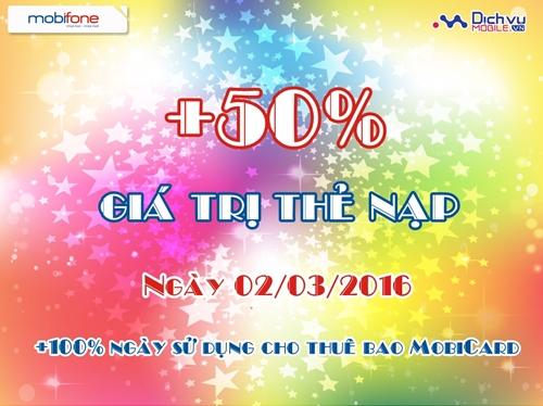 Khuyến mãi 50% Mobifone ngày 2/3
