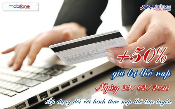 Mobifone khuyến mãi trực tuyến 50% ngày 29/02