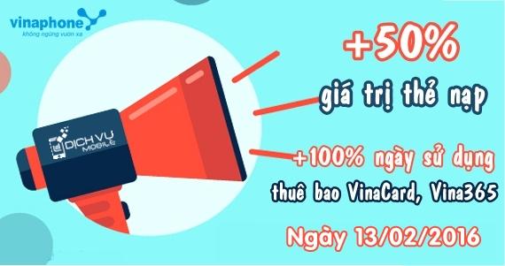 Vinaphone khuyến mãi 50% thẻ nạp ngày 13/02