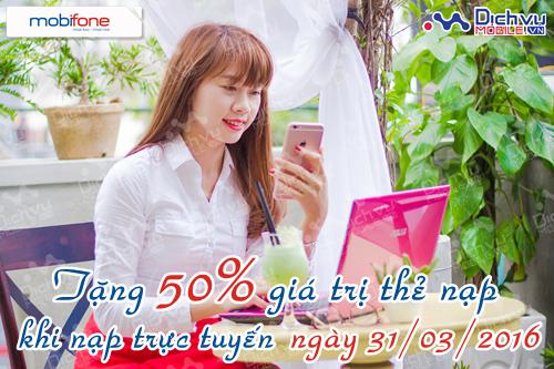 Mobifone khuyến mãi 50% khi nạp bằng thẻ ngân hàng 31/3