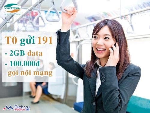 Hòa mạng gói T0 Viettel - 2GB, 100.000đ thoại nội mạng