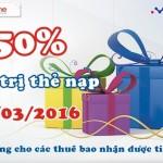 Khuyến mãi Mobifone ngày 21/03/2016 tặng 50% thẻ nạp