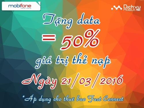 Mobifone tặng data bằng 50% cho Fast Connect ngày 21/03
