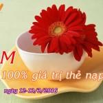 Vietnamobile khuyến mãi 100% thẻ nạp ngày 12-13/3/2016