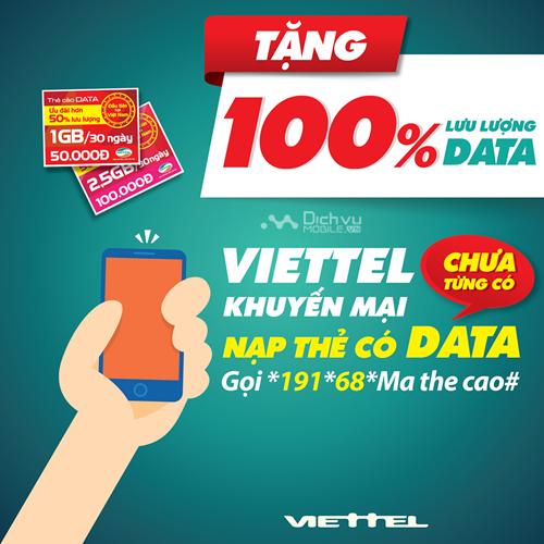 Viettel khuyến mãi 100% data bằng thẻ nạp