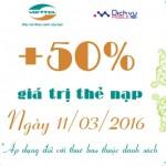 Viettel khuyến mãi tặng 50% thẻ nạp ngày 11/3/2016