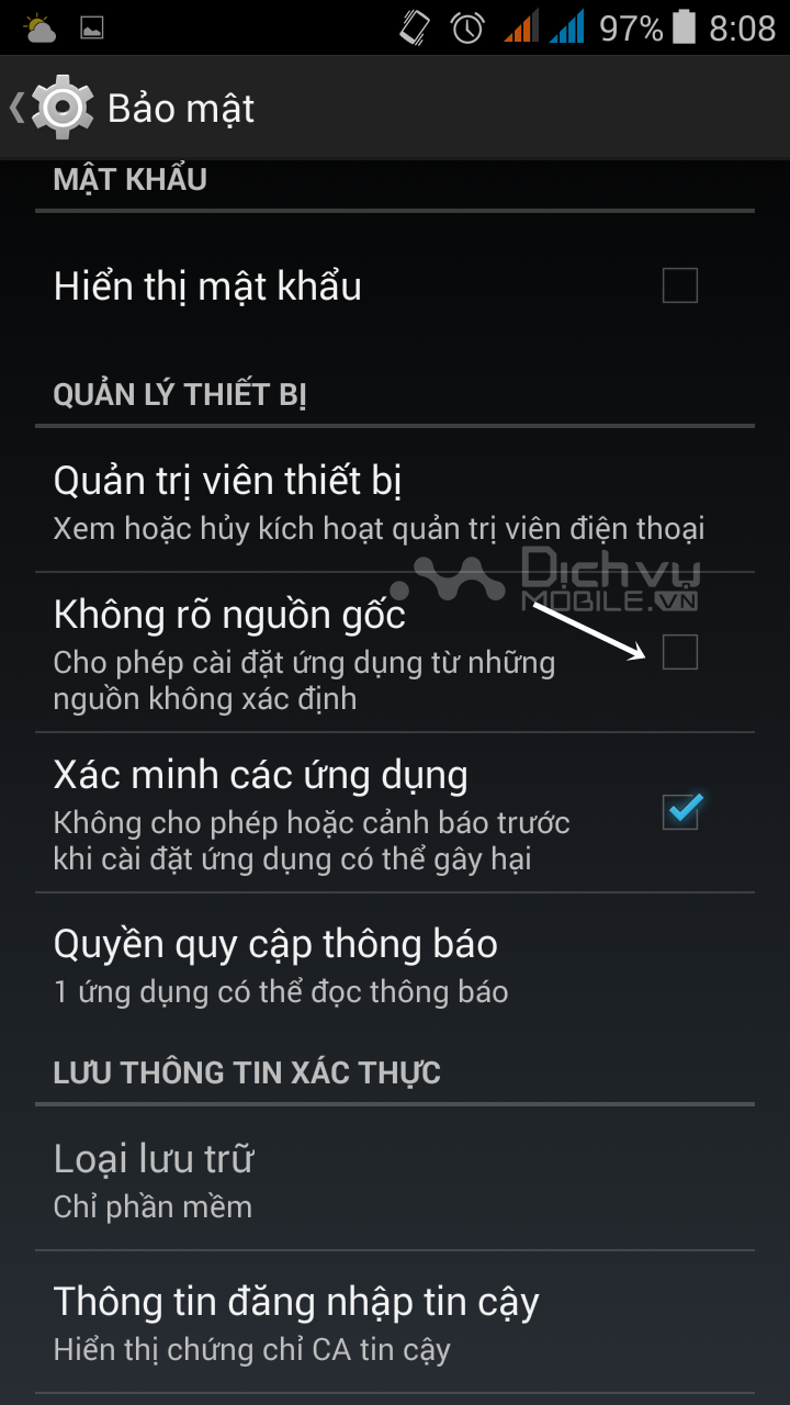 Cài đặt ứng dụng ngoài kho ứng dụng CHPlay cho Android