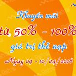Khuyến mãi tặng 700% thẻ nạp Vietnamobile ngày 9/4/2016
