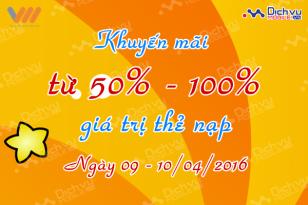 Khuyến mãi 100% thẻ nạp Vietnamobile ngày 9 và 10/4