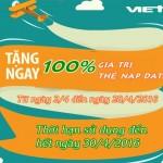 Khuyến mãi 100% thẻ nạp data Viettel từ ngày 2 – 28/4/2016
