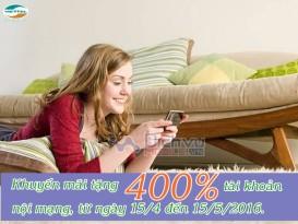 Khuyến mãi 400% tài khoản nội mạng Viettel