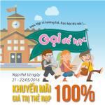 Vietnamobile khuyến mãi 100% thẻ nạp ngày 21-22/5/2016