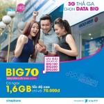 Đăng ký 3G gói cước Big70 Vinaphone chỉ 70.000đ có 1.6GB