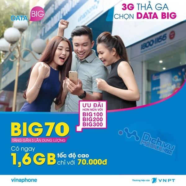 Đăng ký gói 3G Big70 của Vinaphone