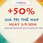 Khuyến mãi nạp thẻ Mobifone tặng 50% ngày 2/9/2016