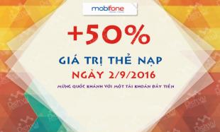 Khuyến mãi nạp thẻ Mobifone ngày 2/9/2016