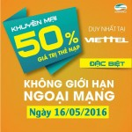 Khuyến mãi nạp thẻ Viettel tặng 50% ngày 16/5/2016
