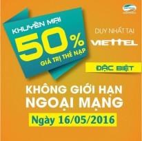 Khuyến mãi nạp thẻ Viettel ngày 16/5/2016