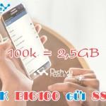 Đăng ký gói BIG100 Vinaphone ưu đãi 2,5GB data 1 tháng