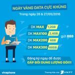 Khuyến mãi ngày vàng tặng 100% data 3G Vinaphone 26 – 27/5/2015