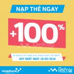 Khuyến mãi  Vinaphone ngày 19/5/2016 tặng 100% thẻ nạp