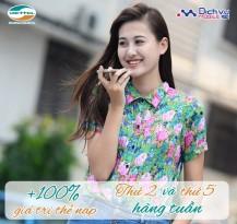 Viettel khuyến mãi 100% thẻ nạp thứ 2 và thứ 5 hàng tuần
