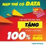 Viettel khuyến mãi 100% thẻ nạp data ngày 20/5 – 22/5/2016