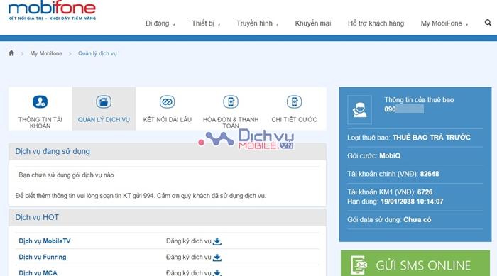 Cách kiểm tra các dịch vụ đang sử dụng của Mobifone