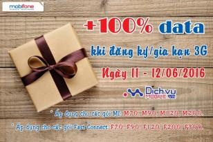 Đăng ký 3G Mobifone tặng 100% data ngày 11 – 12/6