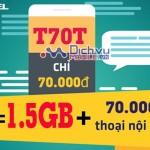 Đăng ký gói T70T của Viettel ưu đãi khủng 2 trong 1