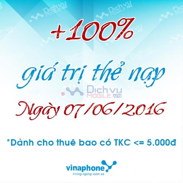 Khuyến mãi cục bộ Vinaphone ngày 7/6/2016