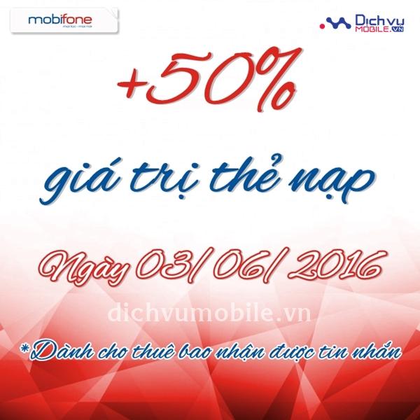Khuyến mãi nạp thẻ Mobifone ngày 3/6/2016